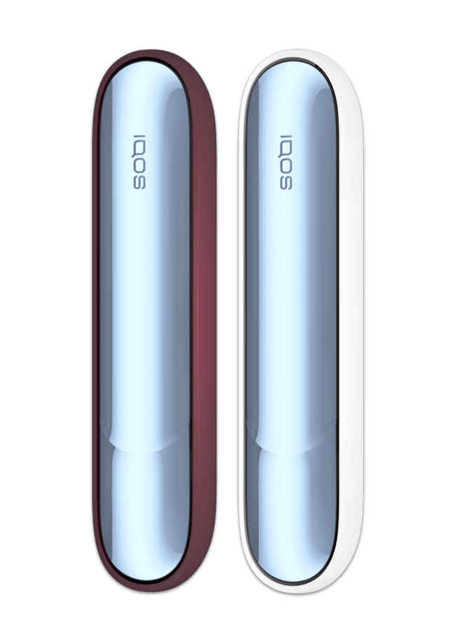 Two IQOS 3 DUO devices in Icy Blue, with Frosted Red and White Accents