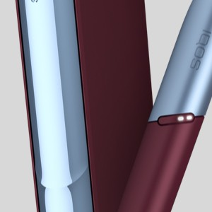 IQOS 3 DUO in Frosted Red and device holder in Icy Blue